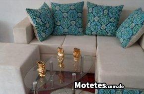 Juego de muebles mini L crema con azul